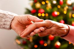 Two hands holding with Christmas tree in background